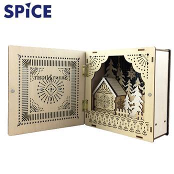 【SPICE】<br>クリスマス エルツ<br>ブック型LEDウッドオブジェ<br>サイレントナイト
