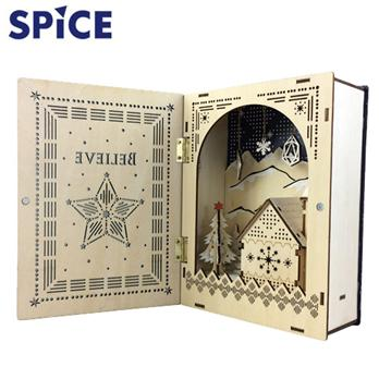 【SPICE】<br>クリスマス エルツ<br>ブック型LEDウッドオブジェ<br>ビリーブ